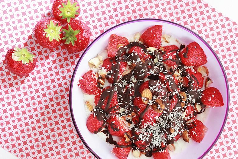 Aardbeien met chocola