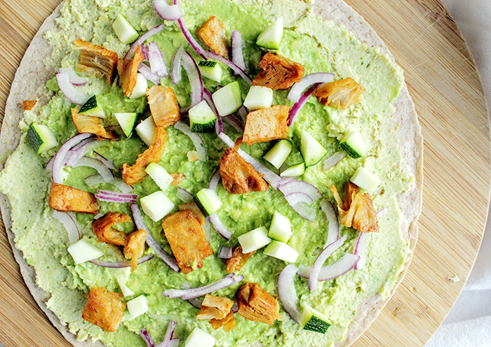 Hummus Avocado 'Chicken' Wraps