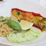 Gevulde paprika met linzen & quinoa