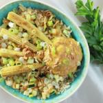 Mini Maïskolf rice bowl & pinda-mango crème