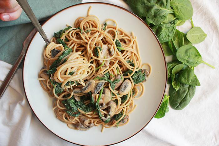 spaghetti spinazie a la crème