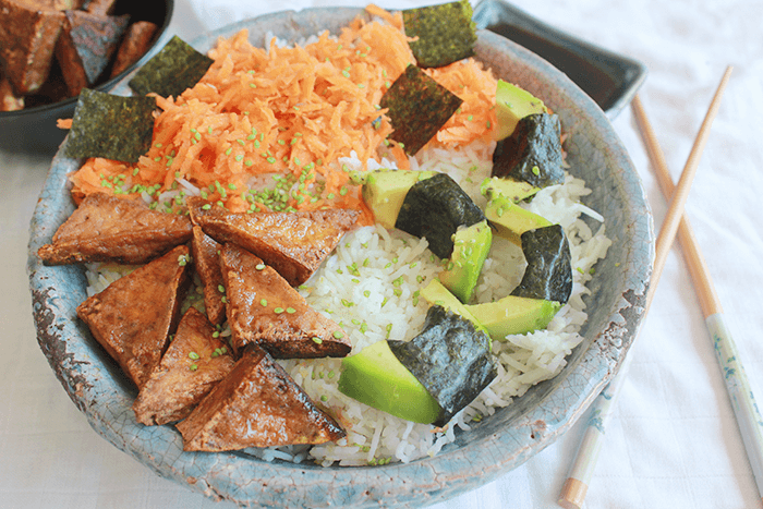 Vegan sushi bowl recept