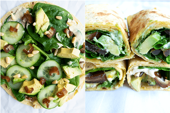 Lunch wraps met hummus-dadel en avocado