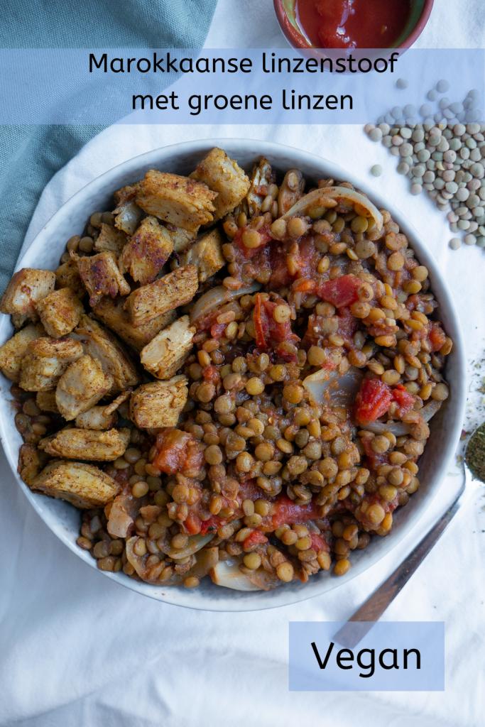 Marokkaanse linzenstoof. Plantaardig recept met groene linzen en Marokkaanse specerijen.